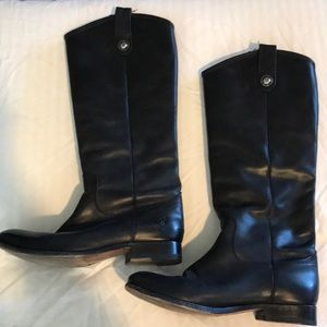 FRYE tall black leather boots 8 slip on
